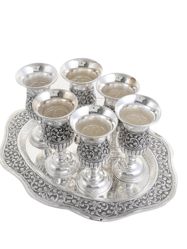 Silver Wine Glass & Tray Set 15