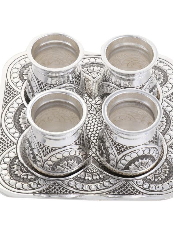 Vintage look Silver Lota & Tray Set 16