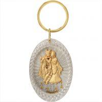 Radha Krishna Oval Keychain
